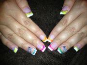bright summer color acrylic nail