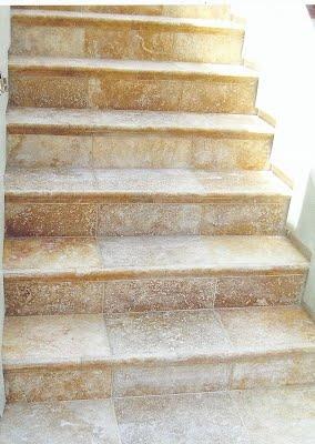 Travertine stairs.