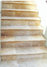 Travertine stairs.