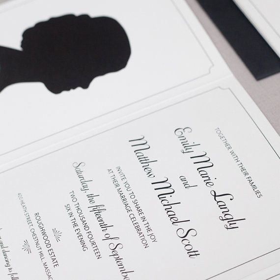 Silhouette Invitation  Sample by wickedbride on Etsy, $5.00