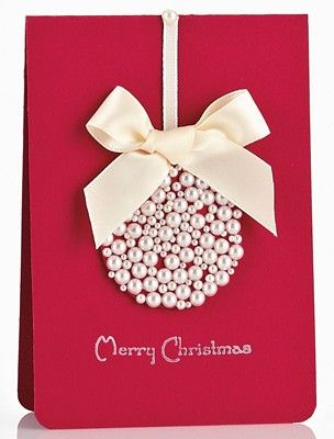 DIY Christmas card- picture in place of pearls..?