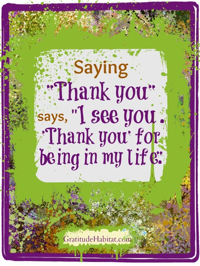 Thank you.  I see you.  Thank you for being in my life. Visit us at: www.GratitudeHabitat.com #gratitude-quote #Thank-you-quote