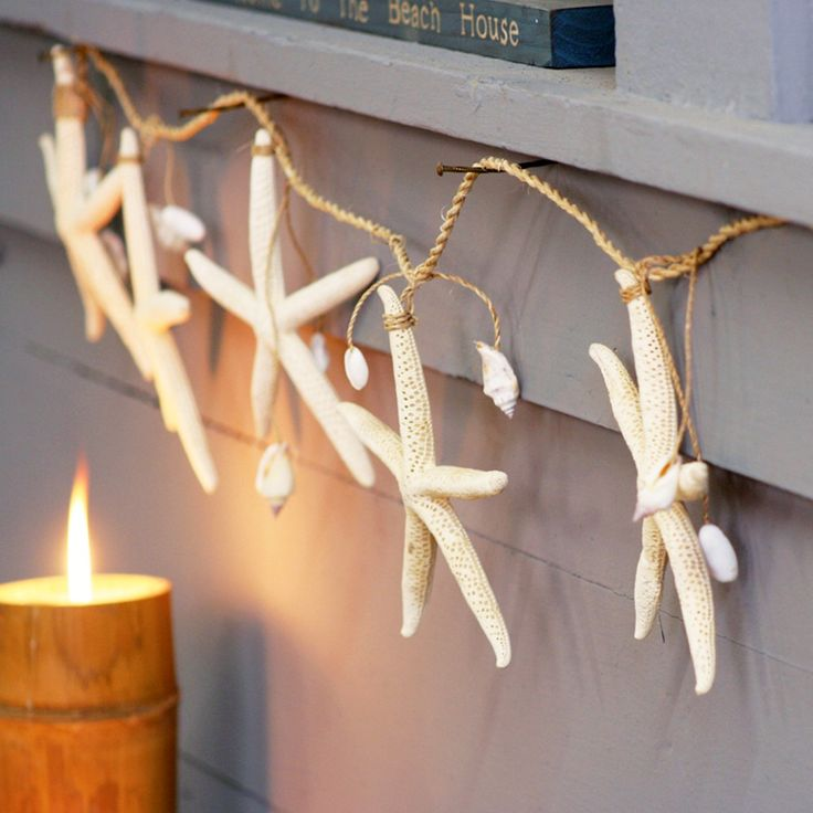 Bring the beach into your own backyard with this Seashell Garland. Made with real starfish and assorted shells, this rope-bound garland will add a hearty dose of coastal charm to any room or patio. All you'll need is a cool ocean breeze.