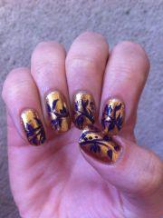 gold and royal purple nails