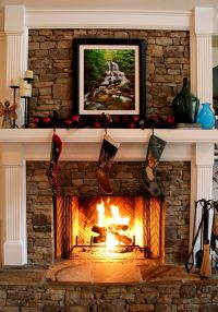 Stacked stone fireplace | Cabin Fireplaces, Wood Stoves ...