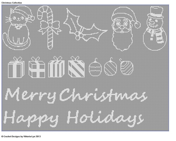 PDF-Instant Download-Filet Crochet CHART Christmas Collection