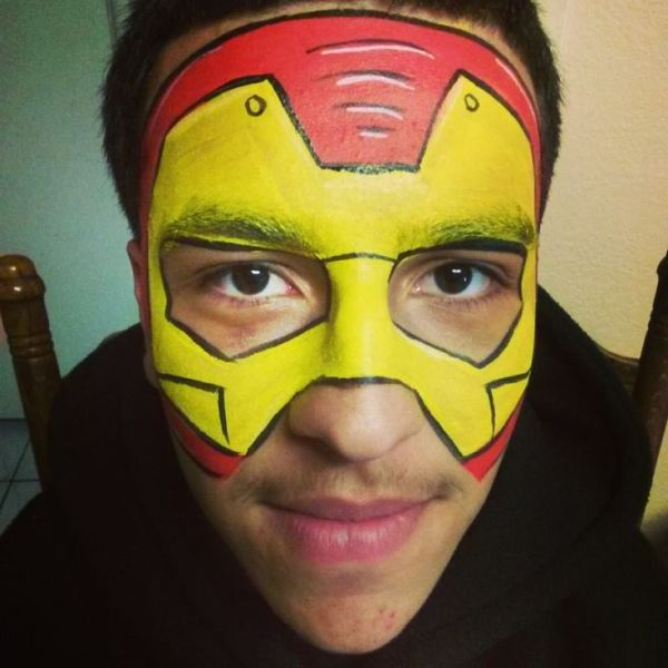 iron man face painting super hero Caritas De Angel Face