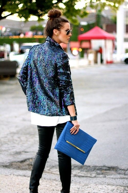 A bold sequin jacket and matching clutch. www.topshelfclothes.com