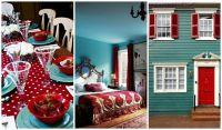 teal and red living room   LivingRm Redo   Pinterest