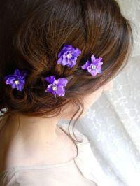 dark purple flower hair clips, grape purple wedding hair ...