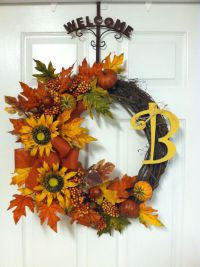 Fall wreath for the front door. | Fall sh*$! Like like ...