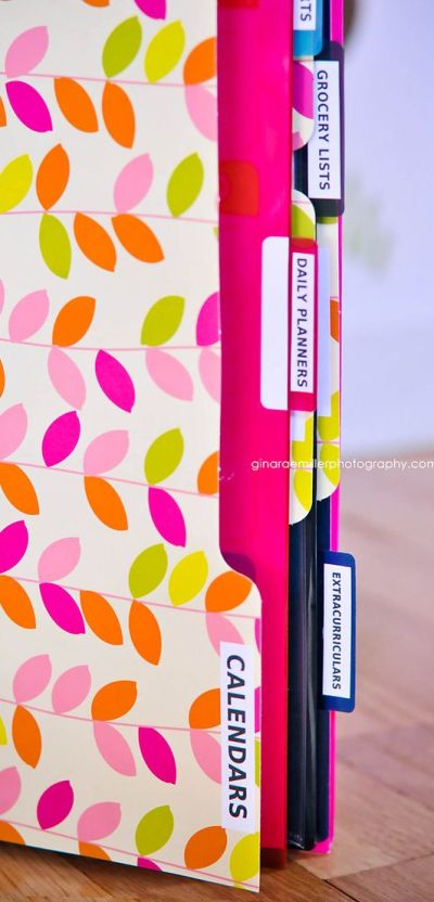 Home Binder: Make your own or buy a pre-made kit. Either way, it's a great way to store all the 'lists' (grocery, menu, phone numbers, emergency, home repair, etc.) that we all tend to keep, but can never find.