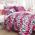 Double zebra peace sign comforter amp zebra sheets teen girl bedding