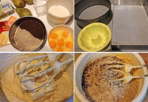 Schokoladen-Nusskuchen mit Birnen