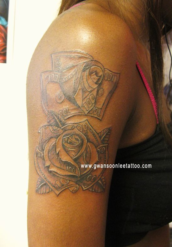 Hundred Dollar Bill Rose Tattoo