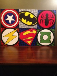 Commissioned pop art #superhero logo paneled wall painting ...