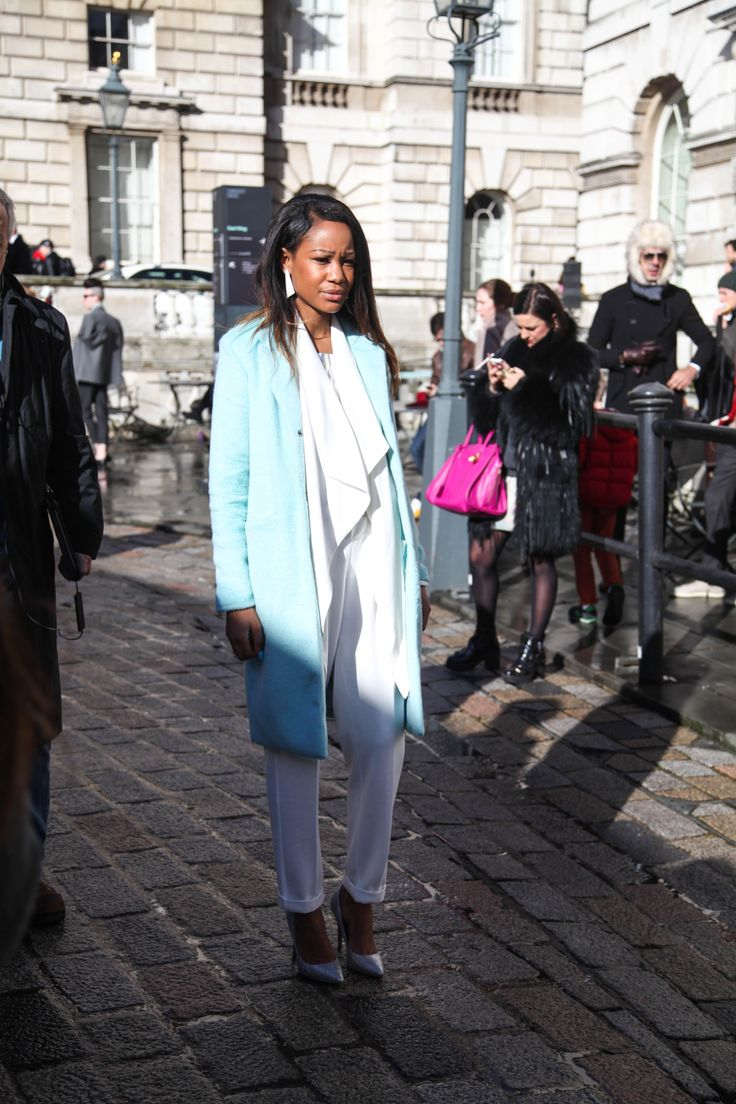 Light blue coat and all white outfit.  #StreetStyle at London Fashion Week. #rasspLFW #ootd #trend #LFW