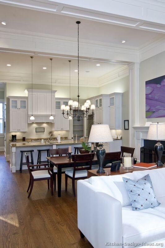 white kitchen, open floor plan, classic,