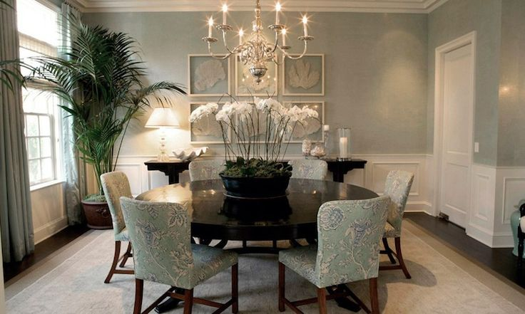 Adam Hunter Inc: Beautiful sea foam green dining room with coastal feel.