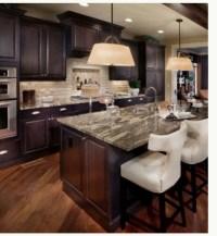 Dark cabinets, light granite   Kitchen new house   Pinterest