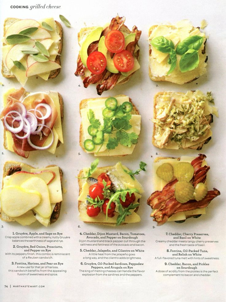 Delectable gourmet grilled cheese sandwiches from Martha Stewart.