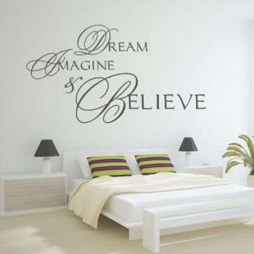 Dream Imagine & Believe Quote Wall Stickers Wall Art Decal - Wall Quotes