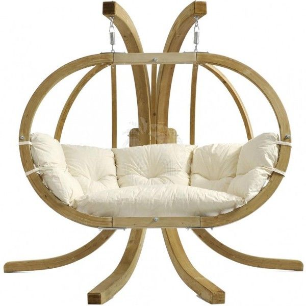 unique white hanging chair with stand