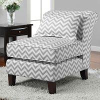 Grey/ White Chevron Print Slipper Chair