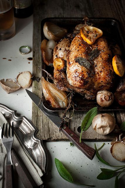 Roast chicken with garlic, lemon and sage