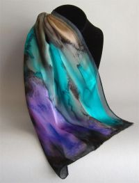 Hand Painted Silk Scarf | Silk scarf | Pinterest