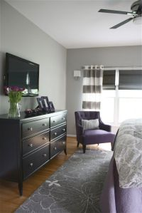 Grey and purple bedroom.