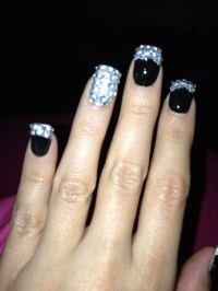 black nail designs with rhinestones black and silver ...