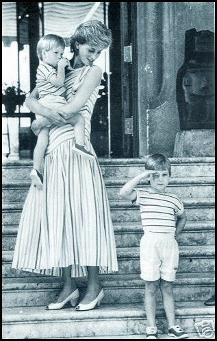 Diana with her sons, Princes William and Harry