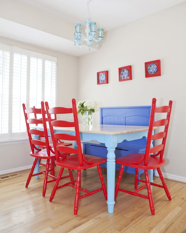 Turquoise kitchen table and red chairs  Turquoise House