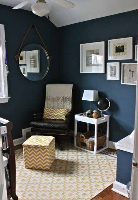 "Love these navy/peacock walls...Benjamin Moore ""Van Deusen Blue"".  Leah Moss nursery via ApartmentTherapy.com"