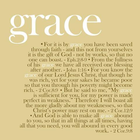 Ephesians 2:8-9; John 1:16; 2 Corinthians 8:9; 2 Corinthians 12:9; 2 Corinthians 9:8. Grace...wherever God is!