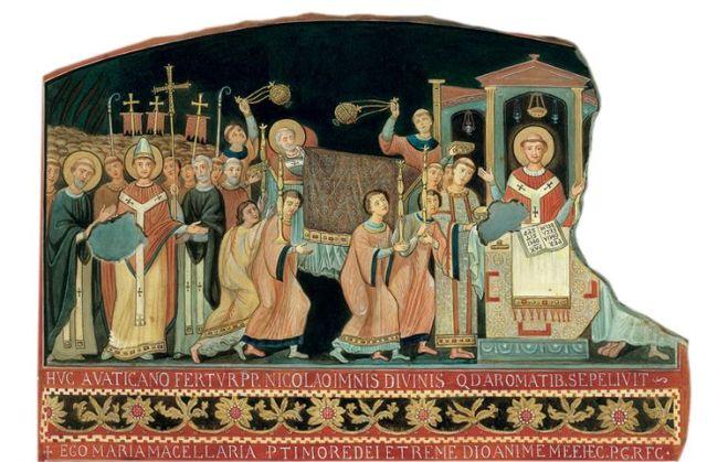 Clemens in de Legenda aurea: de translatie van de relieken naar Rome, naar de San Clemente ((digitale reconstructie fresco San Clemente elfde eeuw).