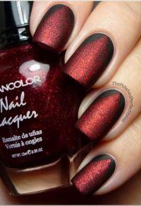 Matte red & black nail polish   Polish   Pinterest