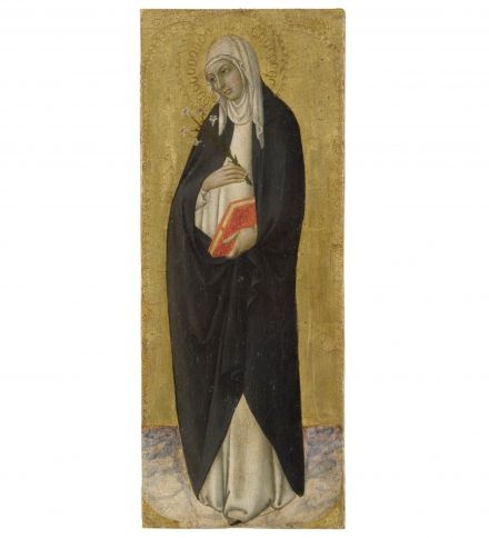 Sano di Pietro,  Saint Catherine of Siena,  C 1470,  Inv. 264,  tempera on board,  41 x 16,5 cm,  Siena, Pinacoteca Nazionale.