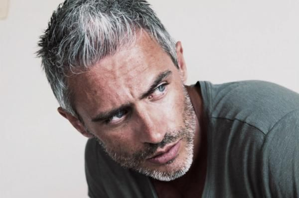 Handsome Sporty Gray Haired Man.