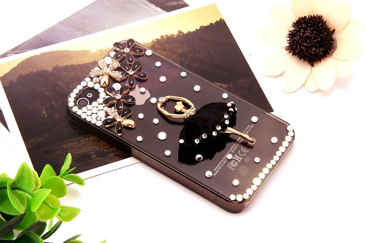 Flongo Bling 3D Rhinestones Ballet Girl Flower Clear Hard Back Case Cover Protector for Iphone 4 4s 5 5s Black White Selectable (Iphone 4 4s Black): Amazon.co.uk: Jewellery