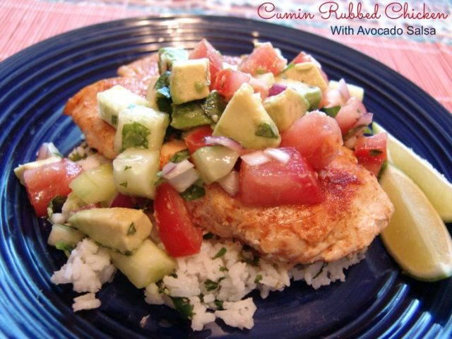 Simple, fresh, flavorful meal with a Tex-Mex flair! Cumin rubbed chicken with avocado salsa. Love Avocados! #avoallstars #AvocadosFromMexico #Allrecipes