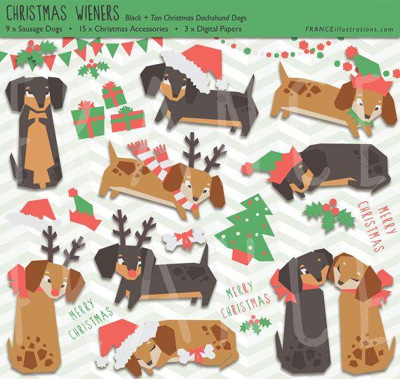 christmas clip art dachshund sausage