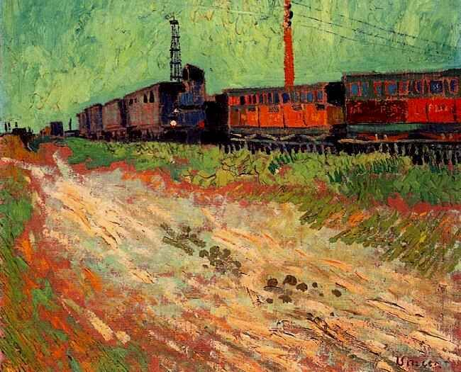 Vincent van Gogh: Railway Carriages. Arles: August 1888