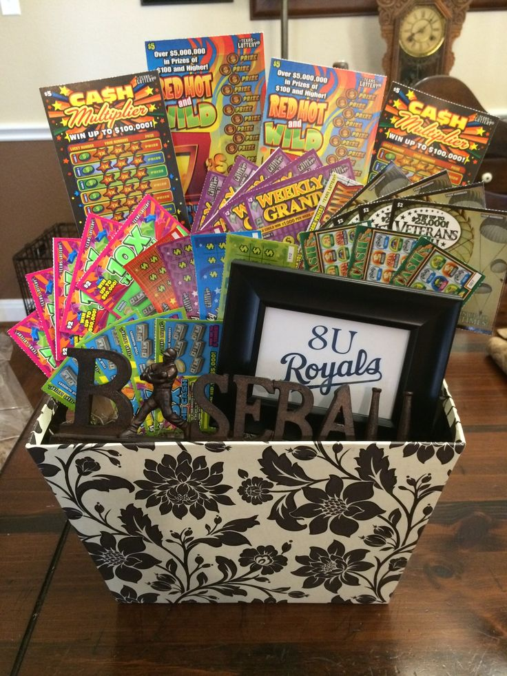 Baseball And Lotto Tickets Silent Auction Basket Silent
