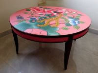 Hand-painted pink coffee table inspired by vintage ...