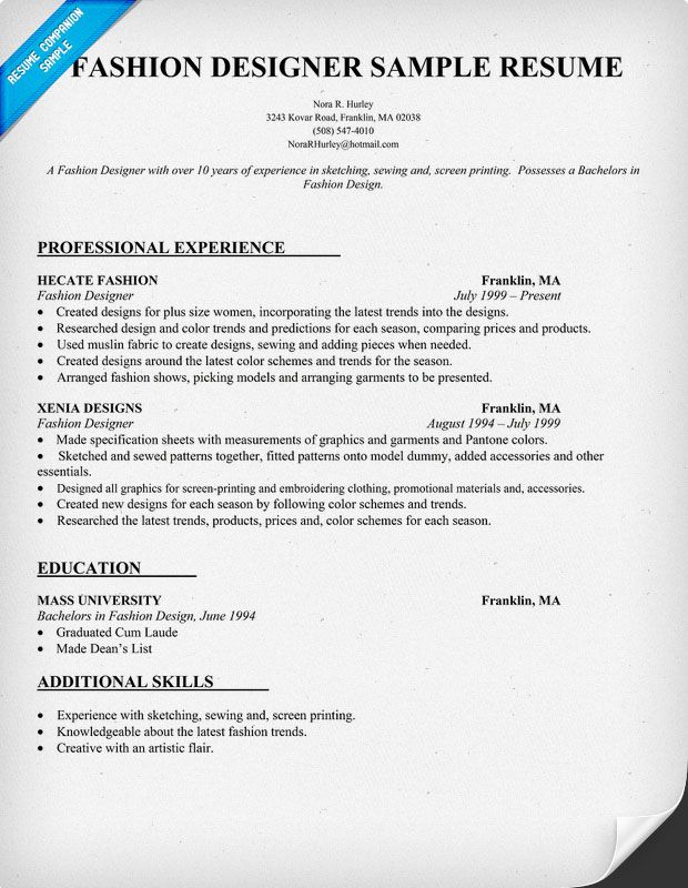 fashion cv example and how it was created stacieclarkblogspot - Fashion Designer Sample Resume