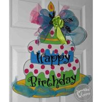 This hand-painted, wooden, whimsical birthday cake adds a ...
