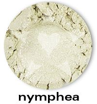 Nymphea is a pale greenish yellow frost with sparks of blue and violet, from the BLOOM Mineral Eyeshadow collection. This collection is is inspired by the best-selling, delicate and sparkling shades of Aromaleigh v1... think of them as wonderfully wearable, go-to shades with an added dose of sparkle.     http://www.aromaleigh.com/newbsospmiey.html
