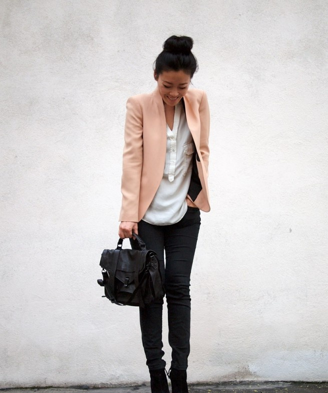 love the light pink blazer..I need one of those.
